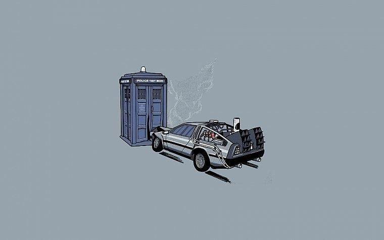 minimalistic, cars, TARDIS, vectors, Back to the Future, time travel, vehicles, Doctor Who, DeLorean DMC-12, simple background - desktop wallpaper