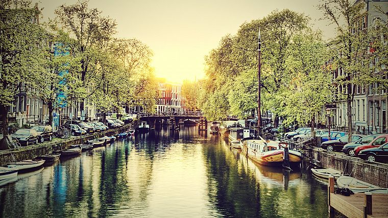 cityscapes, Amsterdam, HDR photography, rivers - desktop wallpaper
