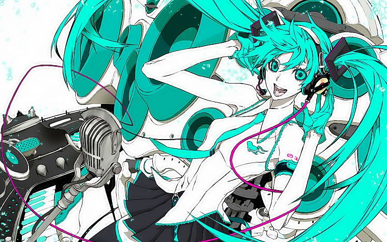 Vocaloid, Hatsune Miku, twintails, Miwa Shirow - desktop wallpaper
