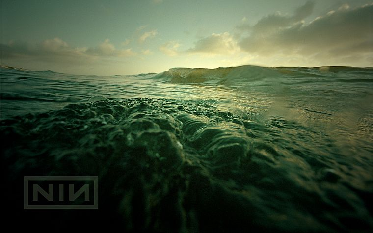 water, ocean, nature, minimalistic, Nine Inch Nails, music, waves, music bands, skyscapes, sea - desktop wallpaper
