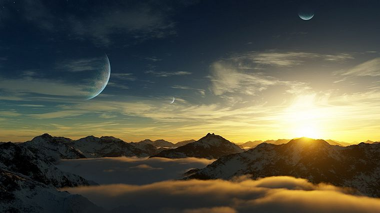 mountains, landscapes, nature, planets, photo manipulation - desktop wallpaper