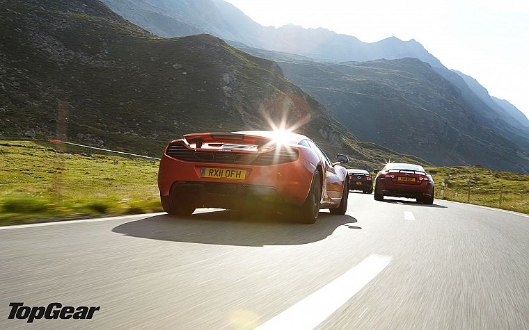 mountains, cars, Top Gear, roads, McLaren MP4-12C, Jaguar XK, Ford Mustang Shelby GT500 - desktop wallpaper