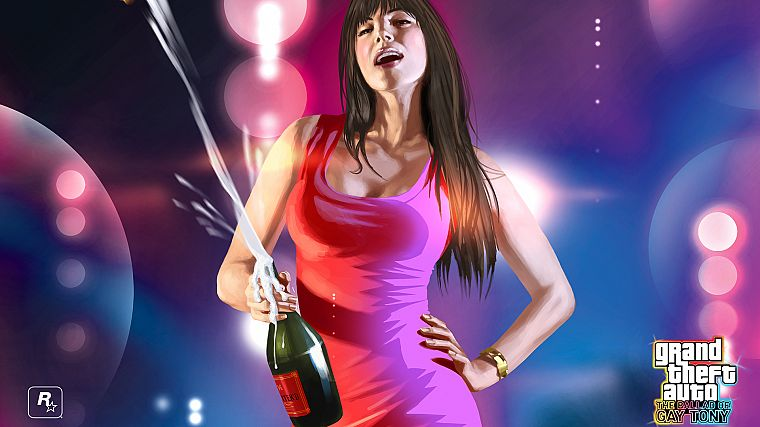 brunettes, women, Grand Theft Auto, artwork, Champagne, The Ballad of Gay Tony - desktop wallpaper