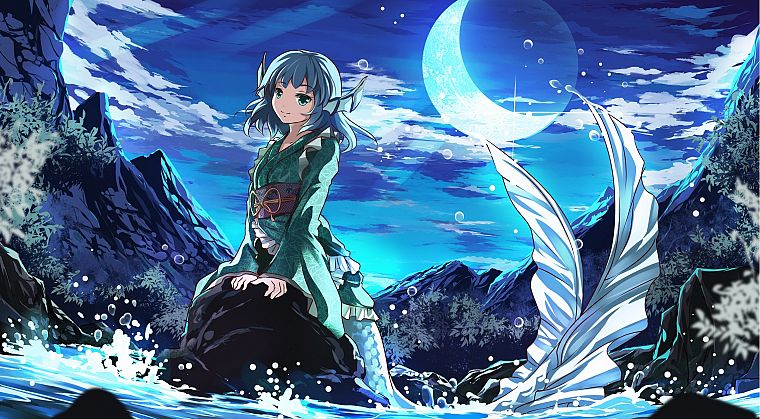 water, Touhou, Moon, Japanese clothes, Wakasagihime - desktop wallpaper