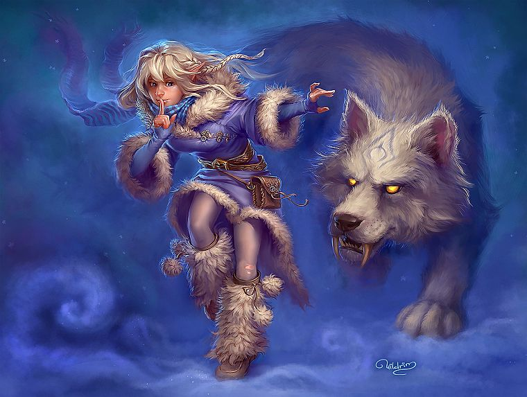 blondes, women, snow, magic, artwork, wolves - desktop wallpaper