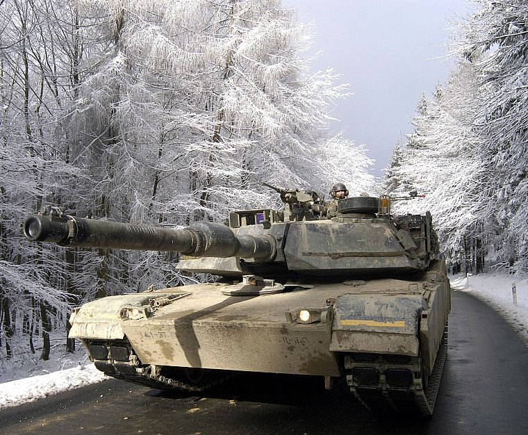 winter, snow, trees, military, seasons, tanks, M1A1 Abrams MBT - desktop wallpaper