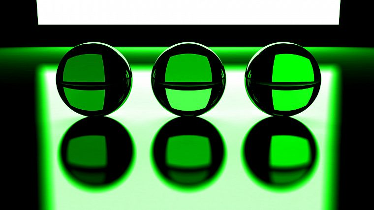 green, three, crystal ball - desktop wallpaper