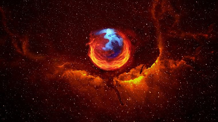 outer space, Firefox, Mozilla, artwork, logos - desktop wallpaper
