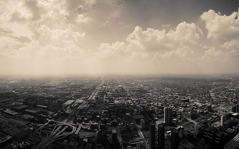 clouds, cityscapes, skylines, Chicago, architecture, urban, buildings, monochrome, cities - desktop wallpaper
