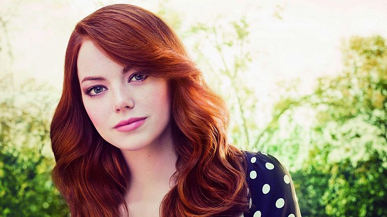 women, nature, actress, redheads, celebrity, Emma Stone, faces - desktop wallpaper