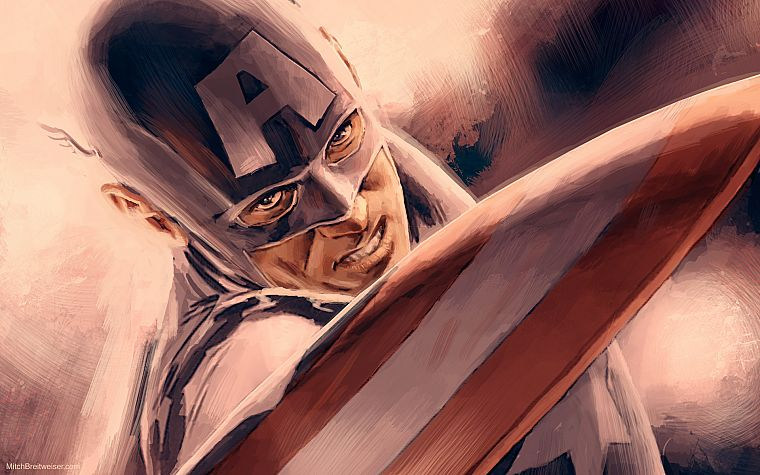 paintings, comics, Captain America, Marvel Comics, Marvel, Steve Rogers - desktop wallpaper