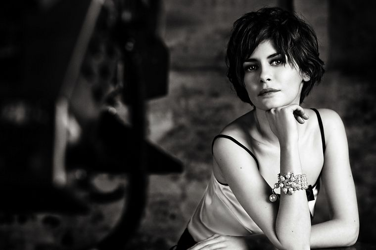 women, actress, models, Audrey Tautou, Coco Chanel, monochrome, greyscale - desktop wallpaper