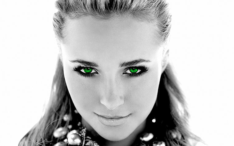 women, actress, Hayden Panettiere, celebrity, green eyes, grayscale, selective coloring, faces, white background - desktop wallpaper