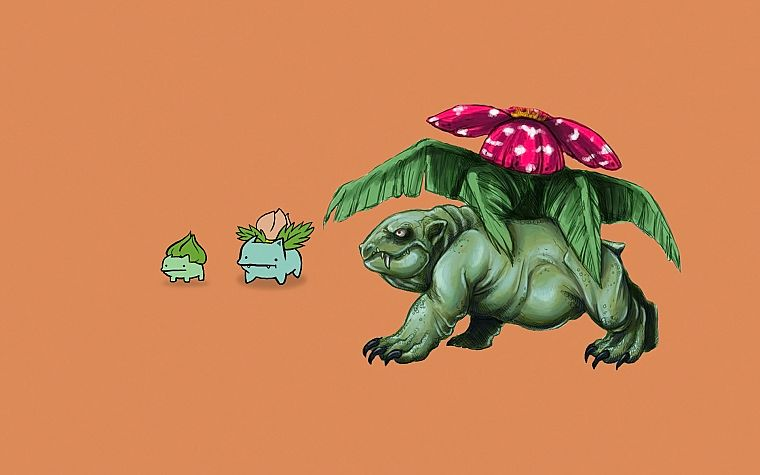 Pokemon, Bulbasaur, realistic, simple background - desktop wallpaper