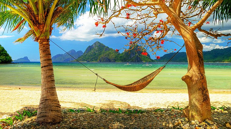 ocean, paradise, hammock, beaches - desktop wallpaper