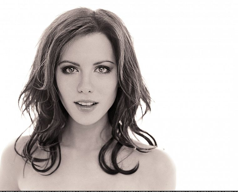 women, actress, Kate Beckinsale, grayscale, monochrome, simple background, white background - desktop wallpaper