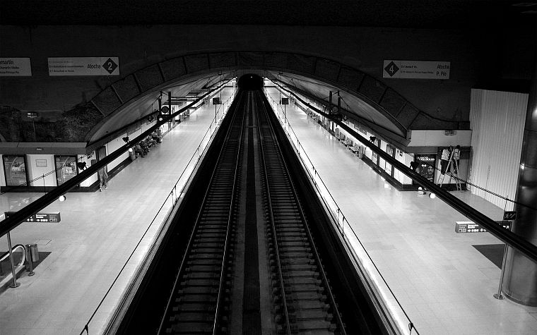 subway, train stations, grayscale, monochrome - desktop wallpaper