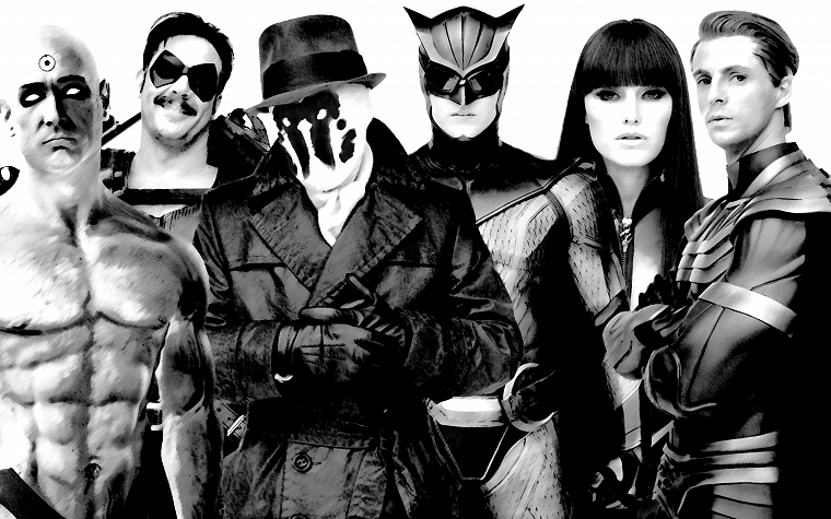 Watchmen, movies, Rorschach, Silk Spectre, Malin Akerman, monochrome, The Comedian, Nite Owl, Ozymandias, Dr. Manhattan - desktop wallpaper