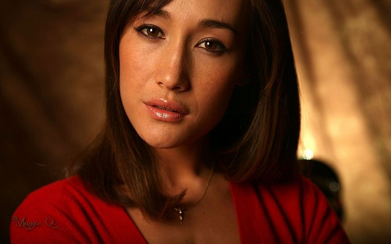 women, red, actress, Maggie Q - desktop wallpaper