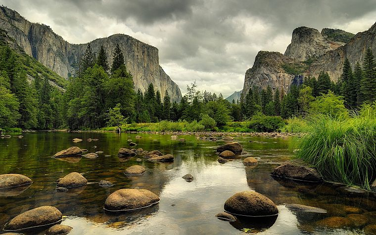 mountains, clouds, landscapes, nature, trees, forests, rocks, reflections - desktop wallpaper