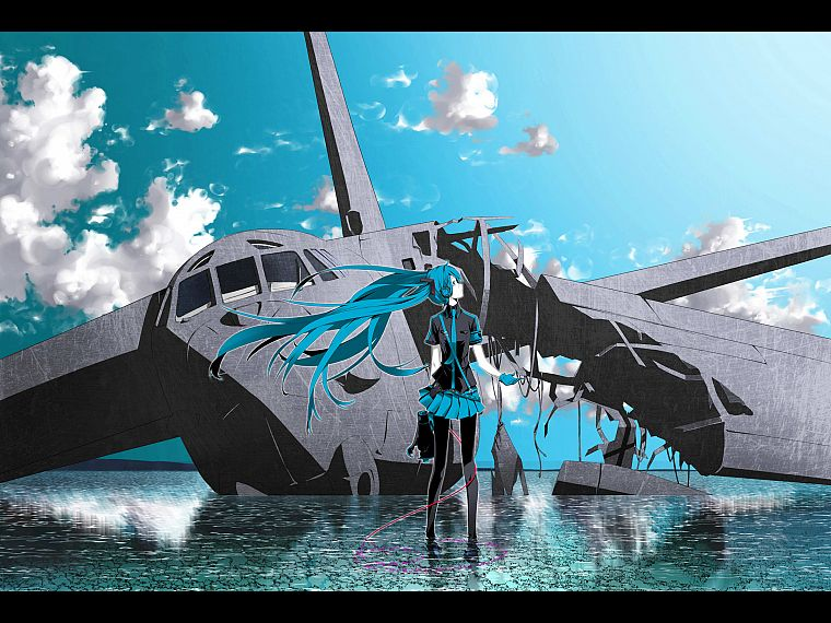headphones, water, clouds, aircraft, Vocaloid, gloves, Hatsune Miku, blue eyes, tie, wind, skirts, long hair, outdoors, blue hair, wrecks, Love is War, pantyhose, twintails, shirts, ahoge, profile, anime girls, armbands, cables, megaphones, hair ornaments - desktop wallpaper