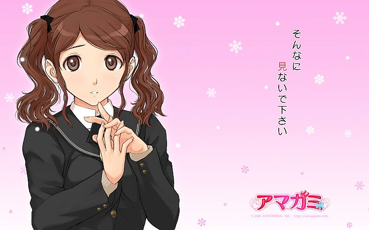 brunettes, text, school uniforms, schoolgirls, long hair, brown eyes, Amagami SS, twintails, snowflakes, blush, bows, Nakata Sae, simple background, anime girls, faces, sailor uniforms, hair ornaments, pink background, bangs, wavy hair, gradient backgroun - desktop wallpaper
