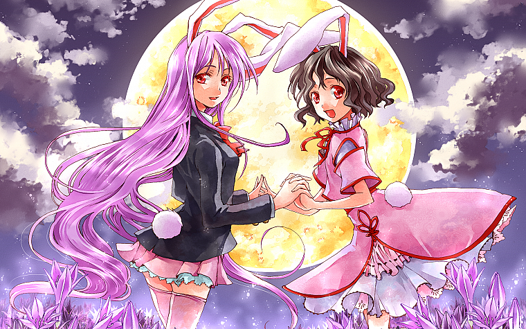 Touhou, Moon, long hair, bunny girls, purple hair, animal ears, Reisen Udongein Inaba, Imperishable Night, bunny ears, Inaba Tewi - desktop wallpaper