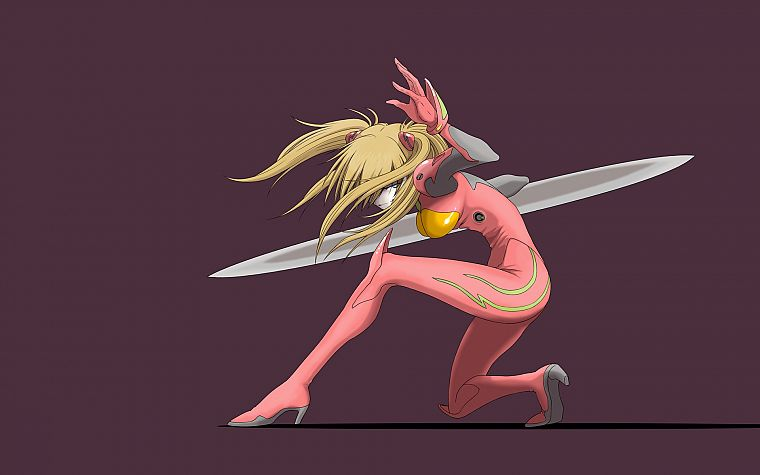 Neon Genesis Evangelion, blade, bodysuits, Asuka Langley Soryu, anime girls - desktop wallpaper