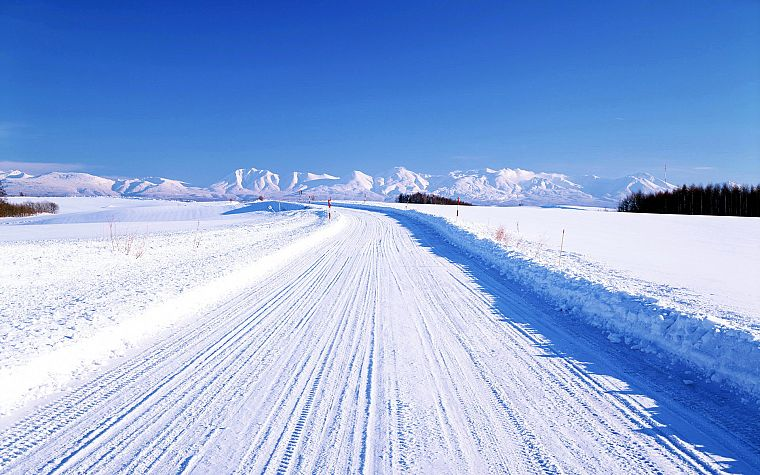 landscapes, winter, snow, roads - desktop wallpaper