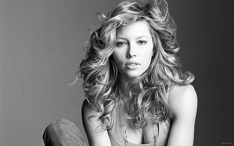 women, white, gray, cleavage, models, Jessica Biel, grayscale, monochrome - desktop wallpaper