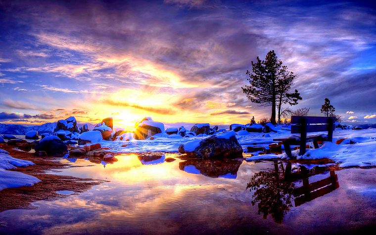 sunset, landscapes, nature, snow - desktop wallpaper