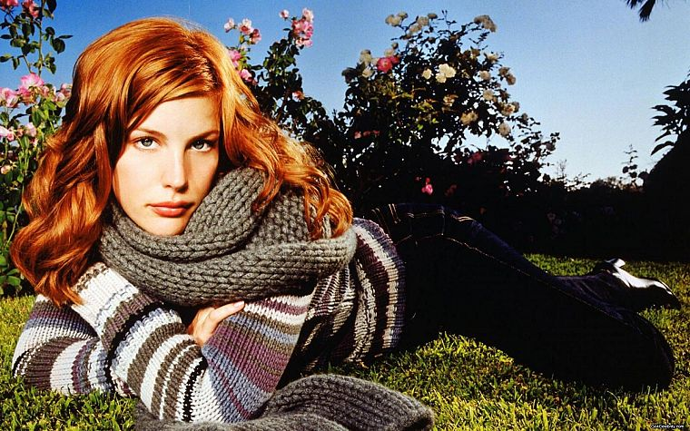 brunettes, women, actress, Liv Tyler, wool, scarfs, faces - desktop wallpaper