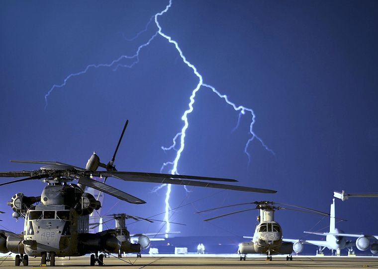 helicopters, vehicles, lightning - desktop wallpaper
