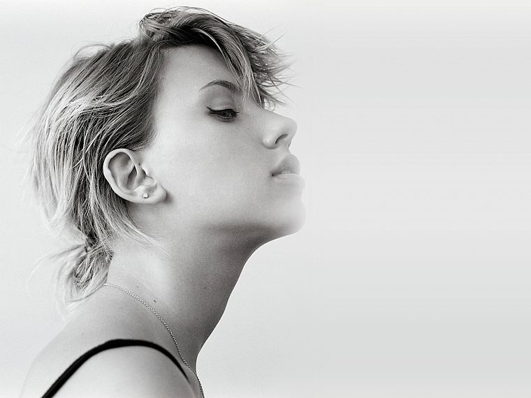 women, Scarlett Johansson, actress, grayscale, faces - desktop wallpaper