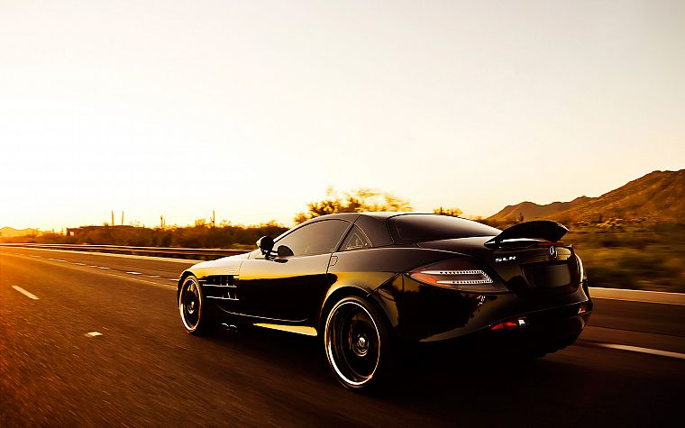 cars, sunlight, roads, vehicles, black cars, speed, automobiles, Mercedes-Benz SLR McLaren, Mercedes Benz, rear angle view - desktop wallpaper