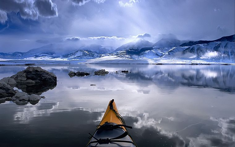 mountains, winter, snow, California, lakes, kayak, Mono Lake - desktop wallpaper