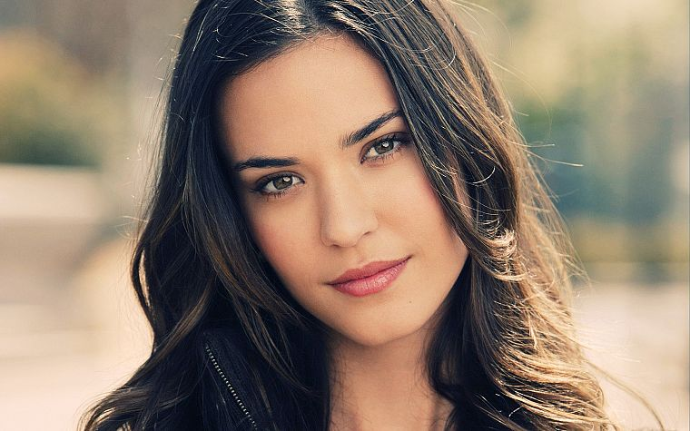 brunettes, women, eyes, Odette Annable, depth of field, faces - desktop wallpaper