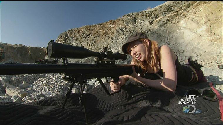 women, Mythbusters, snipers, Kari Byron, girls with guns - desktop wallpaper