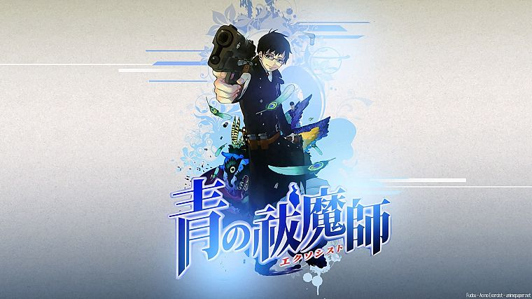 brunettes, guns, Japanese, feathers, anime, anime boys, Ao no Exorcist, Okumura Yukio - desktop wallpaper