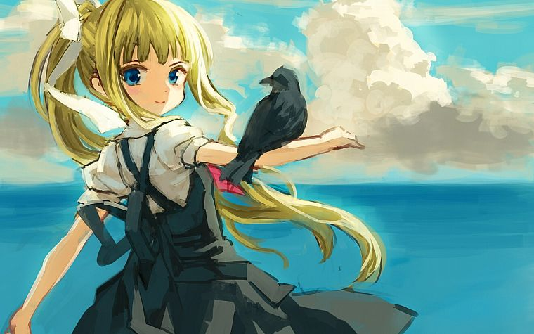 blondes, ocean, birds, Kamio Misuzu, anime, Air (anime), children - desktop wallpaper