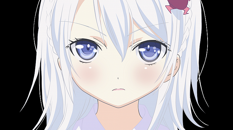 blue eyes, transparent, Denpa Onna to Seishun Otoko, white hair, anime girls, faces, Hoshimiya Yashiro, anime vectors - desktop wallpaper