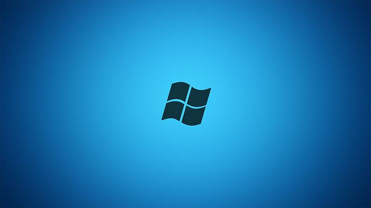 blue, minimalistic, Microsoft Windows, logos, Vignette - desktop wallpaper