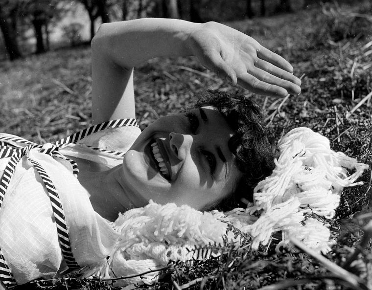 grass, Audrey Hepburn, smiling, monochrome - desktop wallpaper