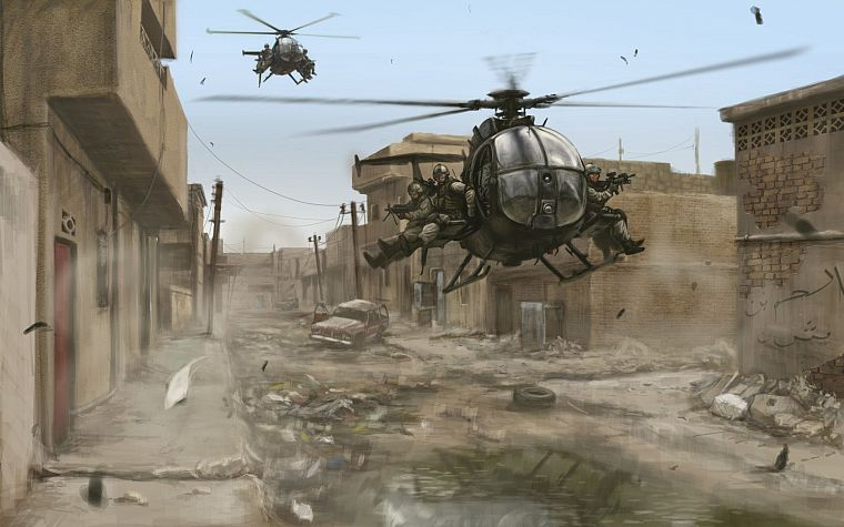 soldiers, cityscapes, military, helicopters, buildings, artwork, Black Hawk Down, vehicles, delta force - desktop wallpaper