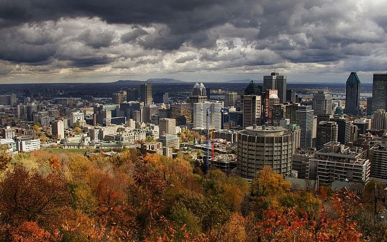 trees, cityscapes, skylines, buildings, Montreal, HDR photography - desktop wallpaper