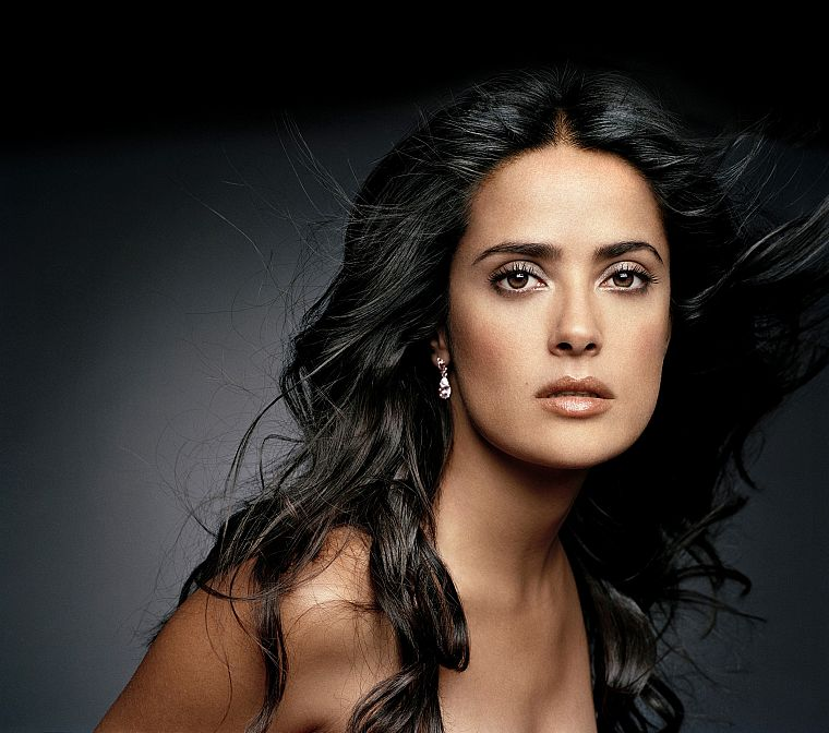 brunettes, women, actress, celebrity, Selma Hayek, faces, portraits - desktop wallpaper