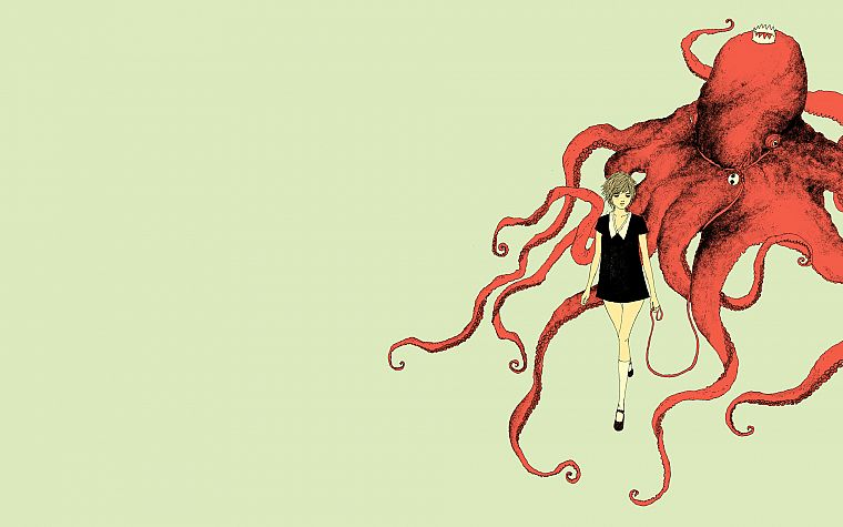 women, octopuses, somefield, Barnaby Ward - desktop wallpaper