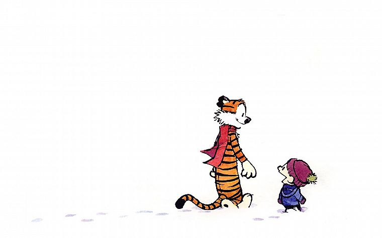 snow, Calvin and Hobbes, scarfs - desktop wallpaper