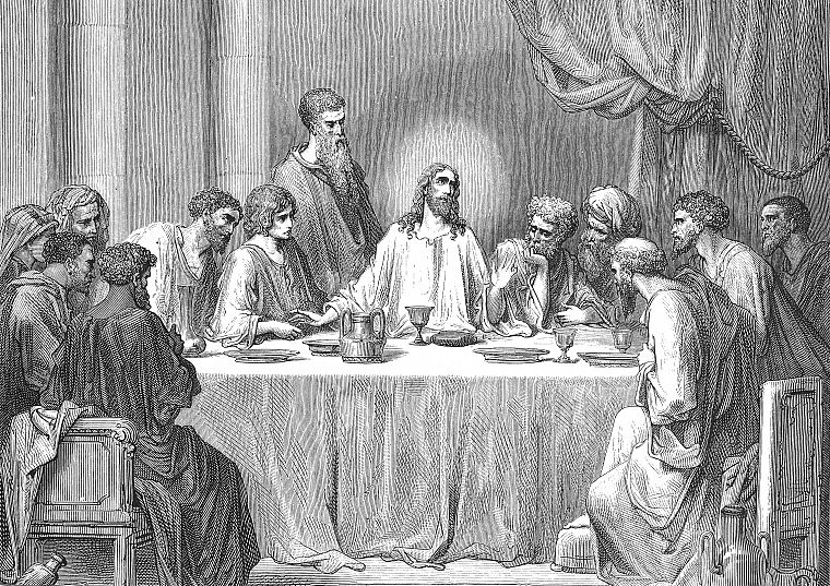 grayscale, The Last Supper, Jesus Christ, artwork, Gustave  Dore - desktop wallpaper