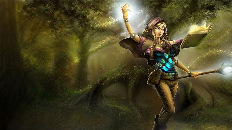 mage, video games, forests, League of Legends, sparkles, magic, capes, staff, Lux, potion, leather pants, armlet - desktop wallpaper